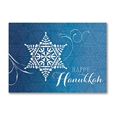 Star of David Snowflake - Holiday Card