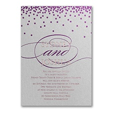 All Spangled Monogram - Invitation - Silver Shimmer
